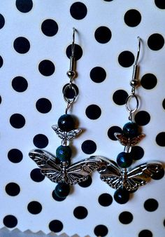 Butterfly Earrings with Peacock Blue Beads by ConstantlyAlice, $8.00