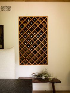 Wine is the most popular drink in the world. Wine is an alcoholic drink made from fermented fruit, especially grape. For those of you who like to drink a wine. I suggest you to have a wine bottle storage to make it sweeter when viewed. Diy Storage Bench, Wine Storage, Storage Rack, Wine Rack Inspiration, Wine Rack Design, Built In Wine Rack, Wine Rack Wall, Wine Racks, Wine Bottle Rack
