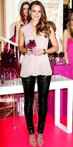 Leighton Meester.  Leather pants predicted to trend this season