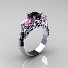 14K White Gold Three Stone Light Pink Sapphire Black Diamond Solitaire Ring....
