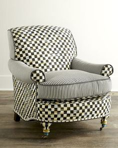 H76VR MacKenzie-Childs Courtly Check Underpinnings Club Chair