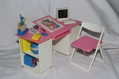 Sindy Desk and Chair 1990 Vintage retro scene with accessories & box Hasbro Sindy Doll, Barbie, American Girl Furniture, Office Desk, Retro Vintage, Scene, Chair, Box, Pink