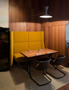Moscow Bistro Styled in Soviet-Era Modernism - http://freshome.com/bistro-with-soviet-era-modernism/