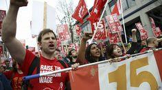 Protesta en Seattle a favor del salario mínimo de US$15