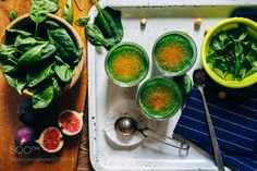 Green smoothies with leaves of fresh mint by kkolosov