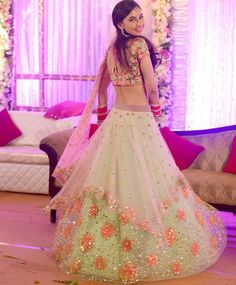 Doesn't she look all shades of lovely! #mehakoberoi at her Reception in our shaded rose and kundan asymmetrical panelled lehenga choli :) #clientduaries #pdpbrides #sopretty