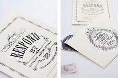formal, whimsical black and white wedding invite