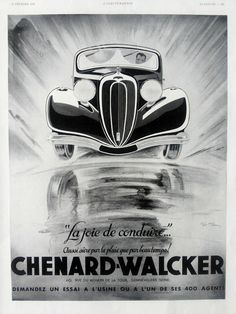 CHENARD WALCKER advertising, vintage automobile poster, original ad from the… Art Deco Posters, Car Posters, Vintage Posters, Buick, Vintage Advertisements, Ads, Art Deco Car, Rockabilly Cars, Garage Art