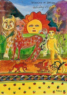 Mirka Mora Blog Pictures, Jewish Art, Naive Art, Art Party, Color Shapes, Outsider Art, Australian Artists, Painting Inspiration, Art Lessons