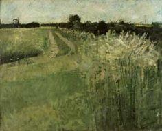 David Hockney. 'Fields, Eccleshill'. Oil on board. 1956.