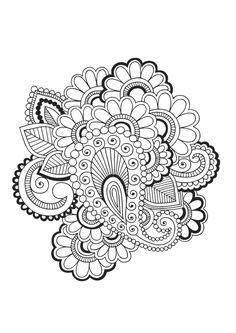 Paisley and flowers coloring page