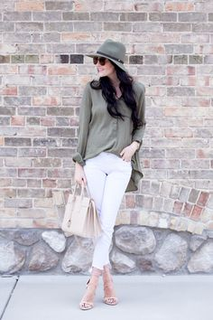 Top: Nordstrom   Jeans: Joe's Jeans (sold out, similar style here)   Shoes:Stuart Weitzman(shorter heel versionhere)  Bag: Saint Laurent(white versionhere, darker beige versionhere)  Sunglasses: Celine   Hat: Rag and Bone   Watch: Michele ℅  Ring: Walters Faith℅   Lips:Soarby MAC andSnobby MAC … A blouse with skinny jeans and heels has always been my go-to [&hellip