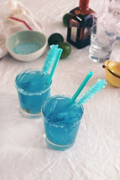 "Breaking Bad ""Walteritas"" - Made these last night for our Breaking Bad premiere party but used big glass goblets, even had about the exact same straws, just bigger boba straws! ;)"