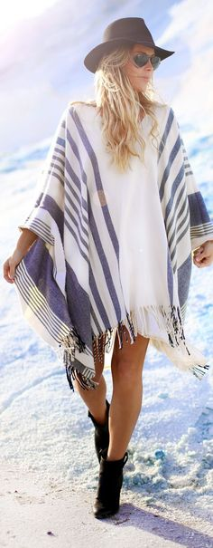 White And Grey Fringe Striped Poncho by Happily Grey