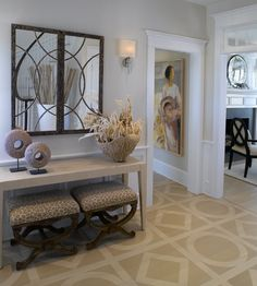 Light Transitional Foyer by Kathleen Hay on HomePortfolio Hay Design, Design Ideas, Wood Floor Design, Painted Wood Floors, Floors And More, Interior And Exterior, Interior Design, Parquet Flooring, Wooden Flooring