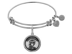 Brass with White Finish Proud Daughter U.S. Marine Corps Round Expandable Bangle. Genuine Angelica Collection Expandable Bangle. Gives back $.25 of each bracelet to Generation Rescue (autism). Designed and manufactured in the USA. Uses only recycled metals. Features unique designs.