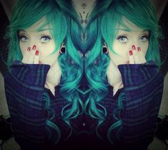 Gradient Green Curl Costume Wig Show by @Brna.Isabela #wig #abhair #abhairstyle at- http://www.abhair.com/product/long-curl-costume-wig-in-swept-bang-gradient-green