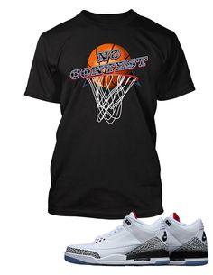848b4656f57 No Contest Graphic T Shirt to Match Retro Air Jordan 3 Black Cement Shoe