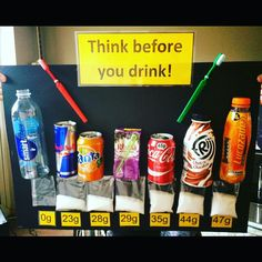 Teeth & Digestion . Poster / display to show the high sugar contents of commonly consumed drinks . Great visual display for both children & adults .