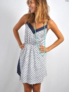 Nautical navy and white tank top knee length dress. Vertical stripes. Add red accessories for 4th of July fashion. Stitch Fix and Wantable 2016