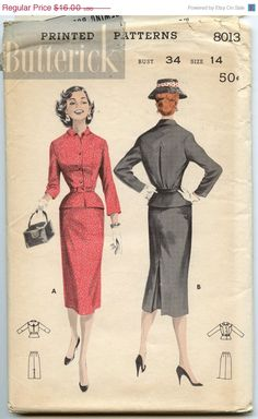 ON SALE 1950s Vintage Sewing Pattern Butterick 8013 Womens Two Piece Suit Pattern Slim Skirt Fitted Jacket Bust 34 UNCUT