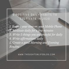 5 Positive Daily Habits to Cultivate in 2020 Daily Calm, Evening Routine, Daily Meditation, Great Life, Make A Person, Good Habits, Daily Affirmations, Positive Mindset, Denial