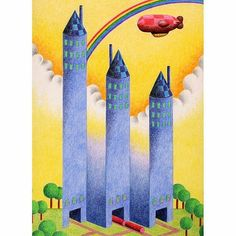 Fantastic #airship #coloredpencil #drawing by Japanese illustrator @koni07a of a dirigible flying over a  trio of surreal towers.  The magnificent gradient of colors is only outmatched by the interestingly creative geometry of the sky scraping structures. The transitionally dimensional design and curious perspective would make MC Escher jealous.  Are the towers supposed to be connected? Are they all part of the same castle? Or are they separate buildings constructed by rival neighbors who…