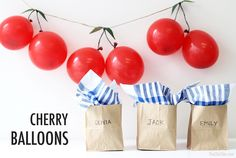 I love this simple party decor. This cherry balloon garland would be perfect for a children's birthday party or even a summer themed party. | The Maharani Diaries