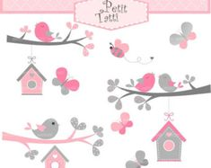 ON SALE Birds and Birdhouse Digital clipart Birds clipart