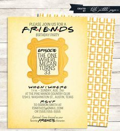 FRIENDS TV Show Shower Invitation, Bridal Shower, Birthday Party, Baby, FRIENDS tv Show Theme