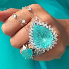 Magnificent Breathtaking Amazonka Mines Natural Paraiba | Etsy Pierre Turquoise, Bijoux Design, Tourmaline Necklace, Double Chain, Lab Created Diamonds, Jewelry Rings, Jewelry Accessories, Jewellery, High Jewelry