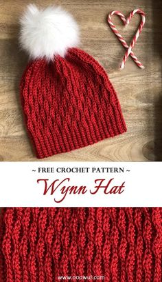 A free crochet pattern of the Wynn Hat. Do you also want to crochet the Wynn Hat? Read more about the Free Crochet Pattern Wynn Hat. Crochet Santa Hat, Bonnet Crochet, Crochet Beanie Pattern, Crochet Adult Hat, Crochet Winter Hats, Crochet Crafts, Crochet Projects, Knitting Projects, Crochet Stitches