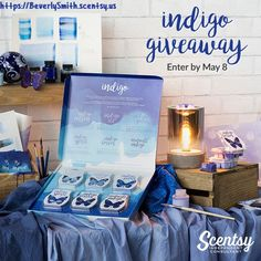 Want to win FREE Scentsy? ONE HUNDRED WINNERS* will receive a vintage-style Parlor Warmer AND all SIX beautifully packaged INDIGO fragrance Scentsy Bars. Enter Today at -  https://BeverlySmith.scentsy.us/Buy/Category/3376 -   *Scentsy Consultants are not eligible to win. -  #Scentsy #Indigo #Win #Giveaway