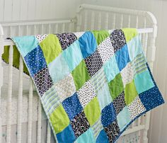 Handmade Modern Baby Quilt by BlueElephantStitch on Etsy, $140.00