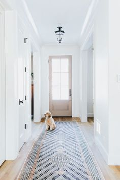 Beautiful hallway with stunning chevron runner with large door with windows that allow a lot of natural sunlight to create a sunny warm space.