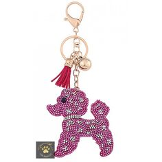 This fabulous key chain has plenty of bling. The feel is luxurious and soft, like a suede backed pillow.Decorate your handbag or use as a key chain. The perfect gift for poodle lovers.Photo does not do the true life sparkle justice!Pink, Gold, or Black. Cute matching fringe t