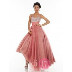 V-neck illusion strap bodice in two tones of tulle, heavy AB rhinestone ombre bodice, shirred tulle waistband, full tulle skirt.