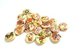 20 pcs Mixed Flower Pattern Painted Wood Buttons 15 mm Sewing Buttons Scrapbook