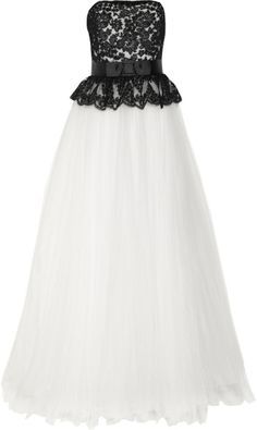 Notte By Marchesa White Lace and Tulle Gown
