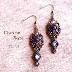 チャロアイト2カラー マクラメピアス