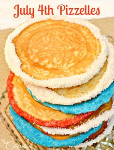 July 4th Pizzelles - dress up your own or ready-made pizzelles with red, white & blue to celebrate the 4th!