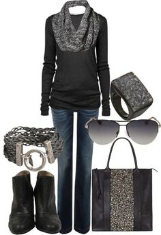 add colored accessories or a fun pair of heels to break up all of the black.