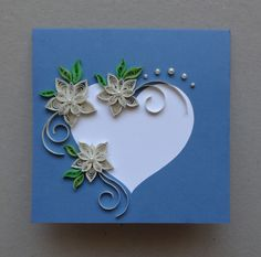Quilled Wedding - handmade greeting card; paper quilling; quilled paper flowers; personalized; blank