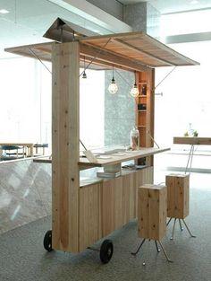katari-bar / nagumo design & uchida yoko co. Kiosk Design, Booth Design, Retail Design, Store Design, Design Design, Signage Design, Corporate Design, Graphic Design, Coffee Carts
