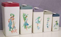 Vintage Bakelite Kitchen Canister Set 1970s 70s Hard Plastic Retro Canisters