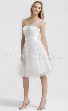 Tulle Princess One Shoulder short bridesmaid dresses