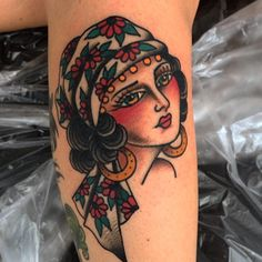 Tony Nilsson Tattoo Amazing expression and colors. #traditional #gypsy