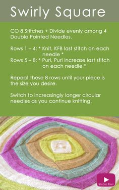 Learn how to Knit the Swirly Square Knit Stitch Easy Free Pattern in the Round on DPNs with Studio Knit