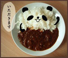 Bwahaha, panda and rice. #asian #panda #kawaii #food #faces