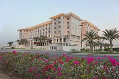 The exterior of the Hormuz Grand hotel, located next to bank muscat headquarters, close to Muscat International Airport.